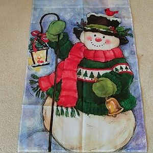 Snowman Winter Season Flag Banner